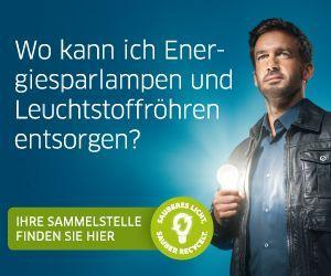 Plaktahinweis Sammelstelle Energiesparlampen/Leuchtstoffröhren