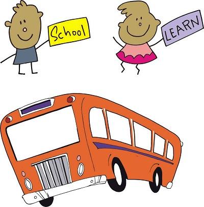 Bild im Cartoonstil Junge mit Schild School, Mädchen mit Schild Learn, darunter Busgrafik