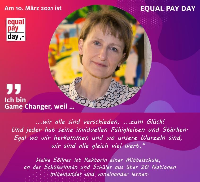 Mitmachaktion Equal Pay Day Heike Söllner, Rektorin einer Mittelschule