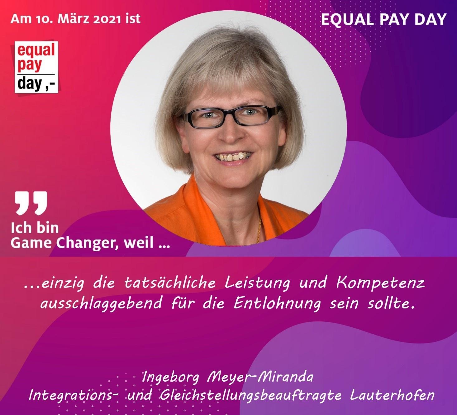 Mitmachaktion Equal Pay Day Ingeborg Meyer-Miranda Integrations- und Gleichstellungsbeauftragte Lauterhofen