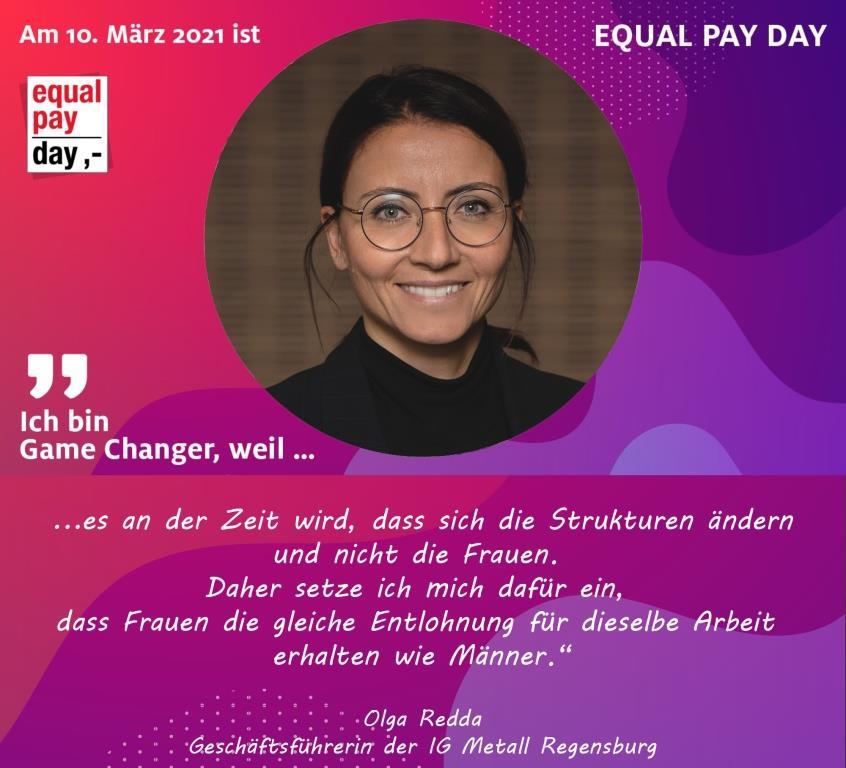 Mitmachaktion Equal Pay Day Olga Radda, Geschäftsführerin der IG Metall Regensburg