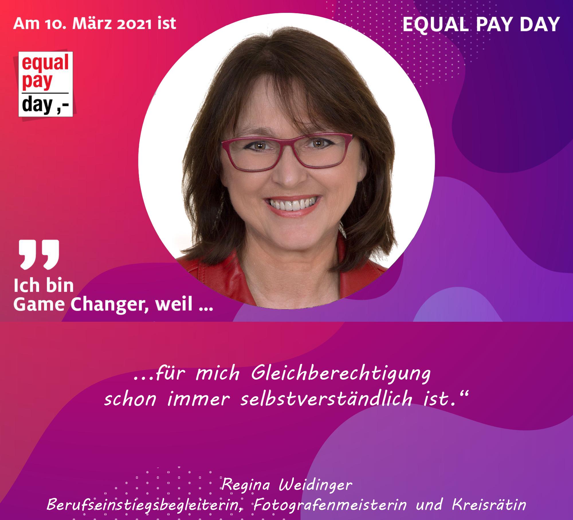 Mitmachaktion Equal Pay Day Regina Weidinger, Fotografenmeister und Kreisrat