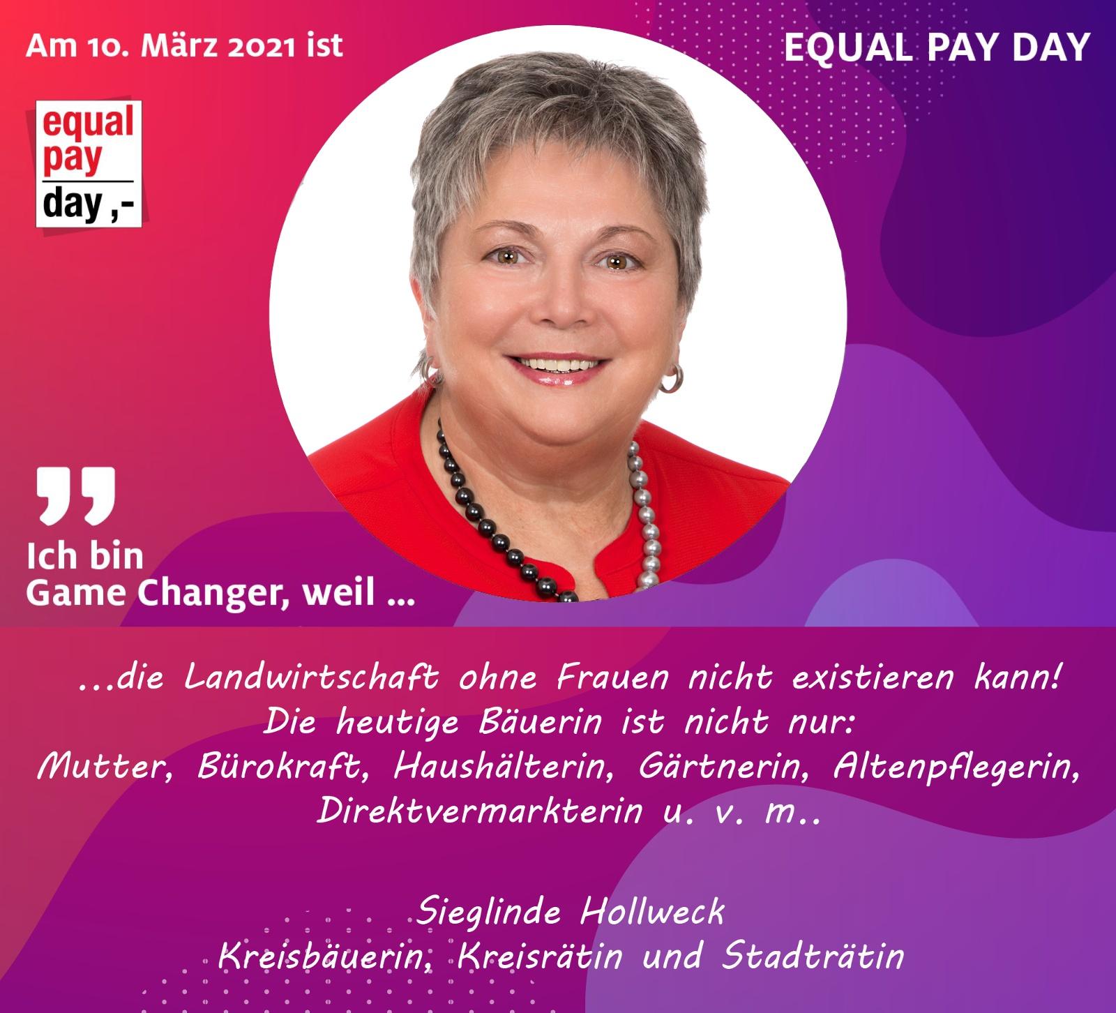 Mitmachaktion Equal Pay Day Sieglinde Hollweck, Kreisbäuerin, Kreisrätin und Stadträtin