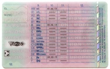EU-Führerschein Rückkseite