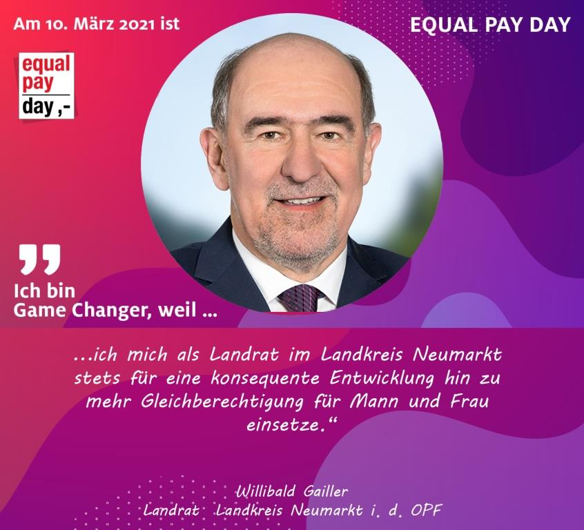 Mitmachaktion Equal Pay Day Landrat Willibald Gailler