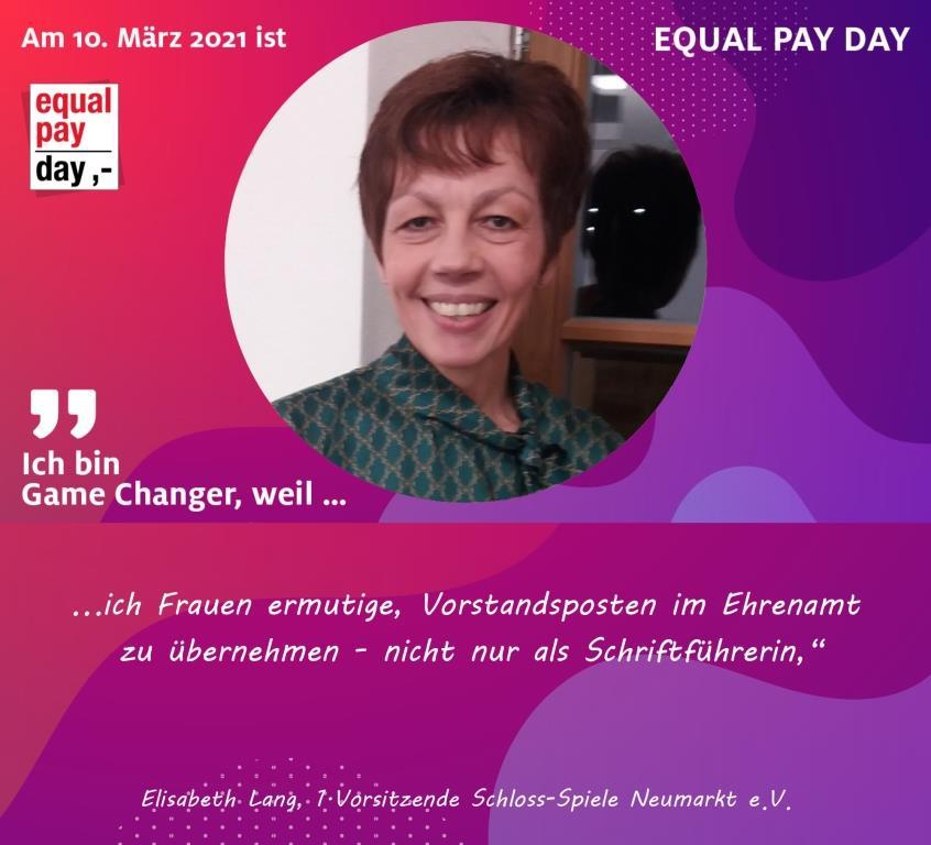 Mitmachaktion Equal Pay Day Elisabeth Lang, 1. Vorsitzende Schloss-Spiele Neumarkt e.V.