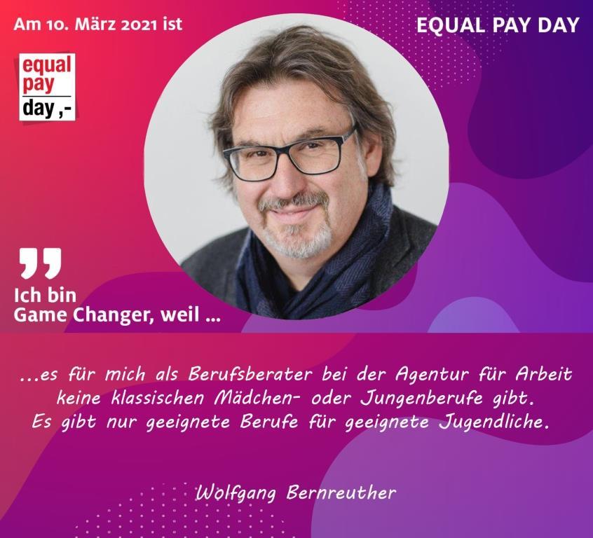 Mitmachaktion Equal Pay Day Wolfgang Bernreuther Berufsberater Agentur für Arbeit