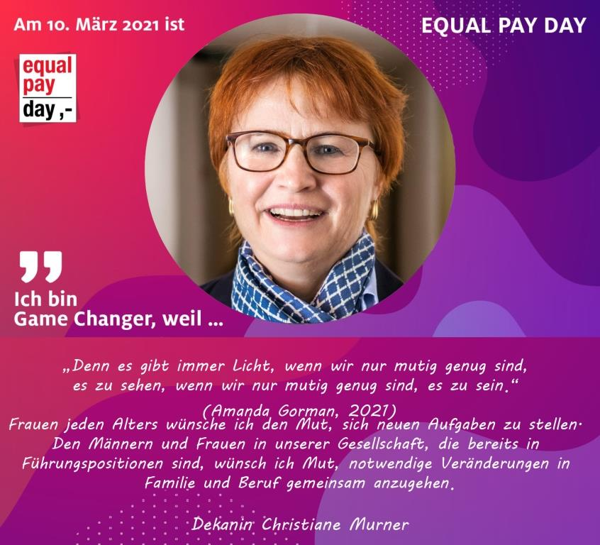 Mitmachaktion Equal Pay Day Christiane Murner, Dekanin