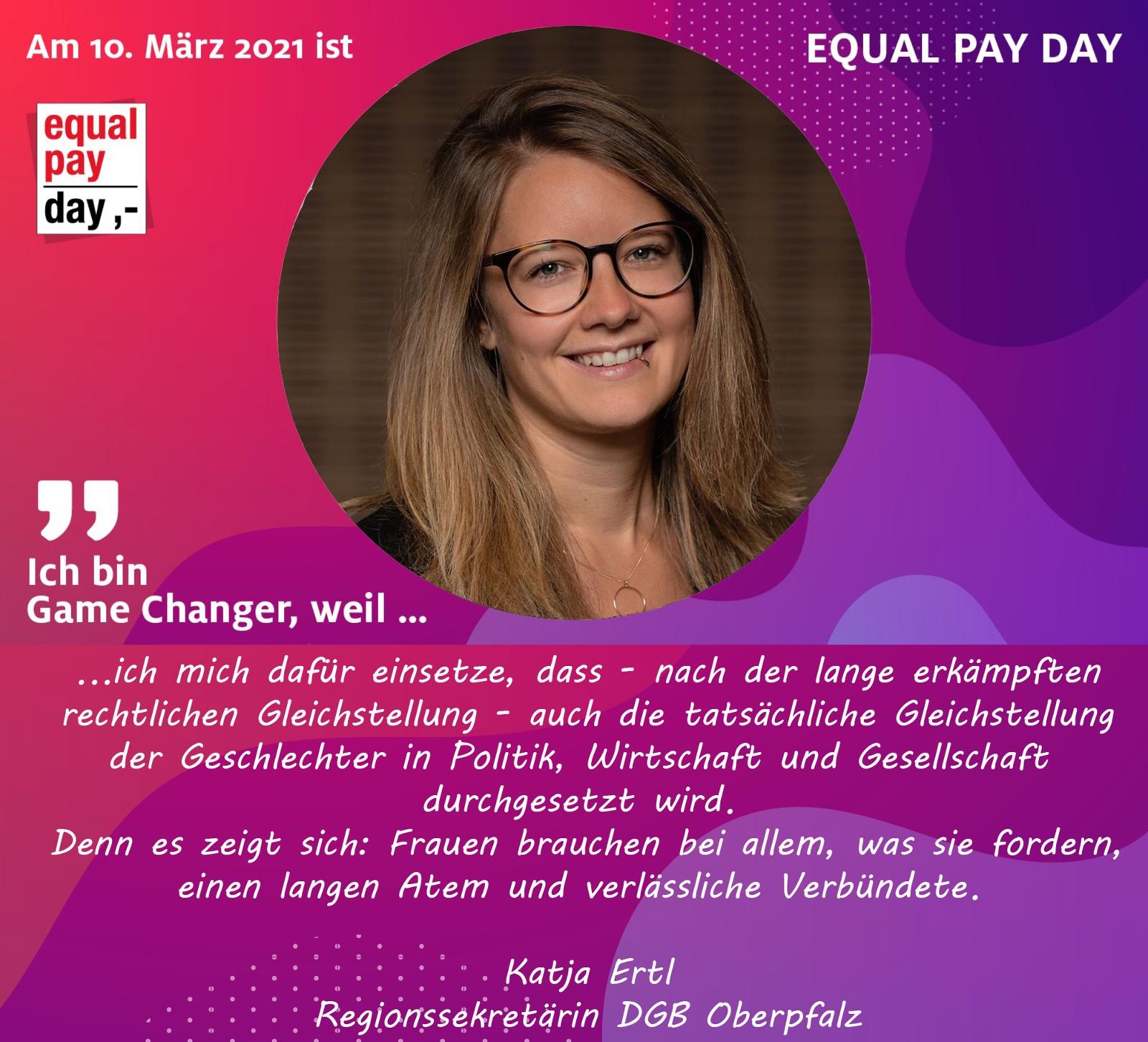 Mitmachaktion Equal Pay Day Katja Ertl, Regionssekretäring DGB Oberpfalz