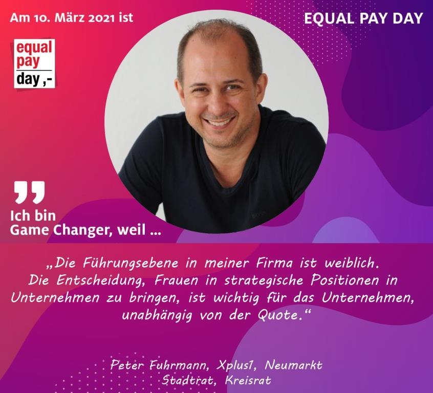 Mitmachaktion Equal Pay Day Peter Fuhrmann XPlus1 Neumarkt, Stadtrat, Kreisrat