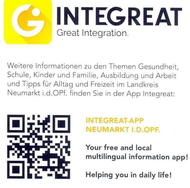 Hinweisbild für Integreat-App mit QR-Code