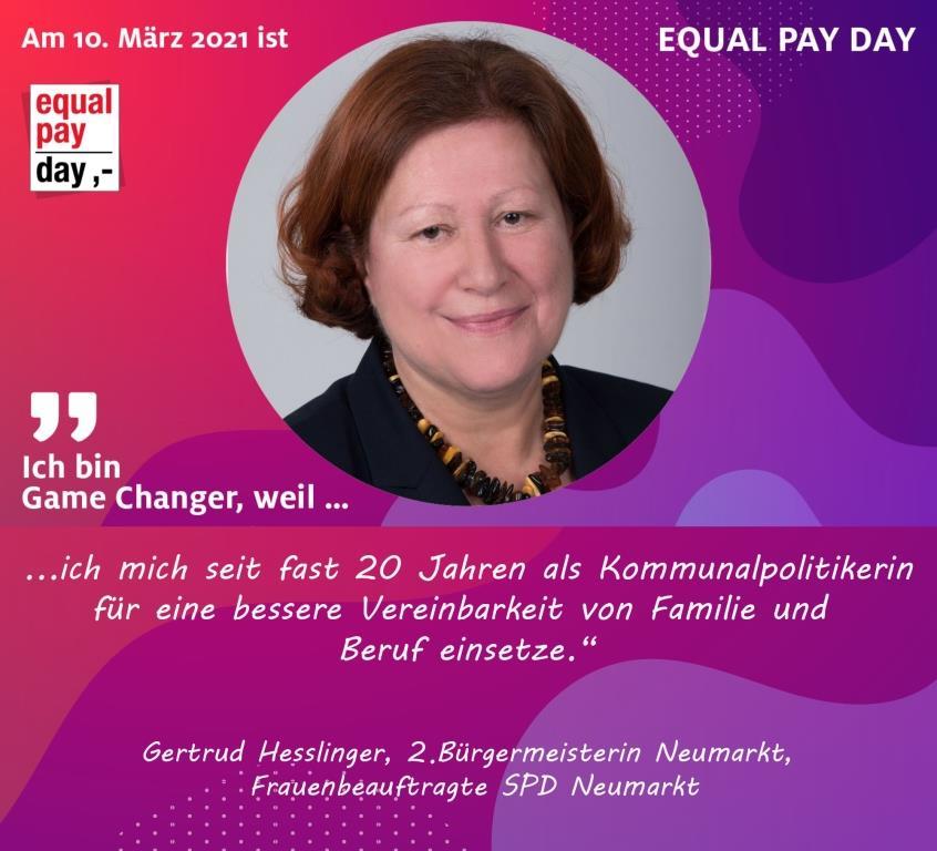 Mitmachaktion Equal Pay Day Gertrud Heßlinger, 2. Bürgermeisterin Neumarkt, Frauenbeauftragte SPD Neumarkt