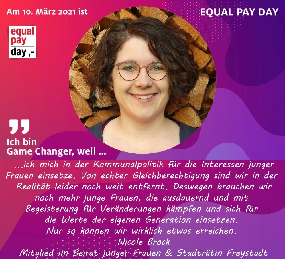 Mitmachaktion Equal Pay Day Nicole Brock, Mitglied im Beirat junger Frauen & Stadträtin Freystadt