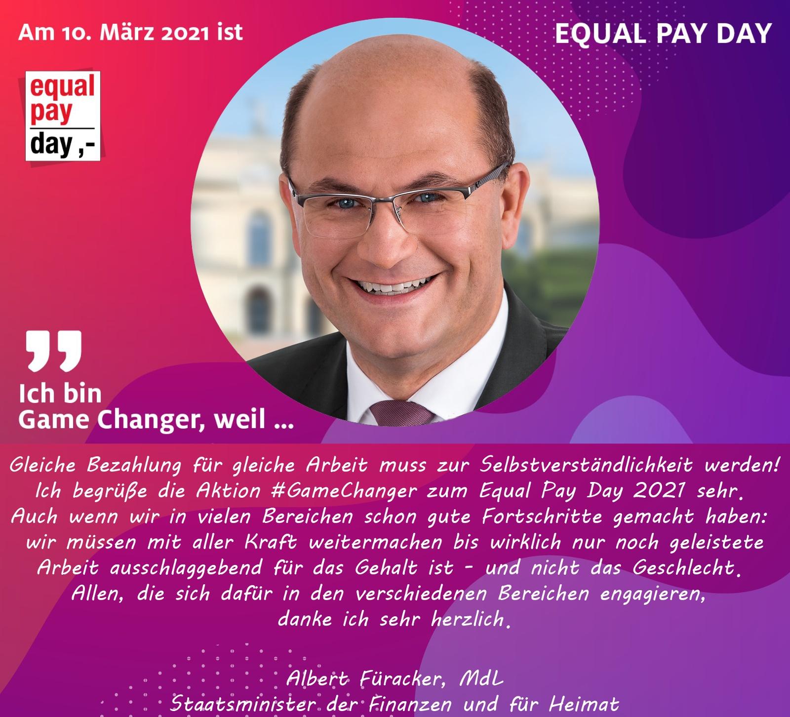 Mitmachaktion Equal Pay Day Albert Füracker, Mdl, Staatsminister der Finanzen und für Heimat
