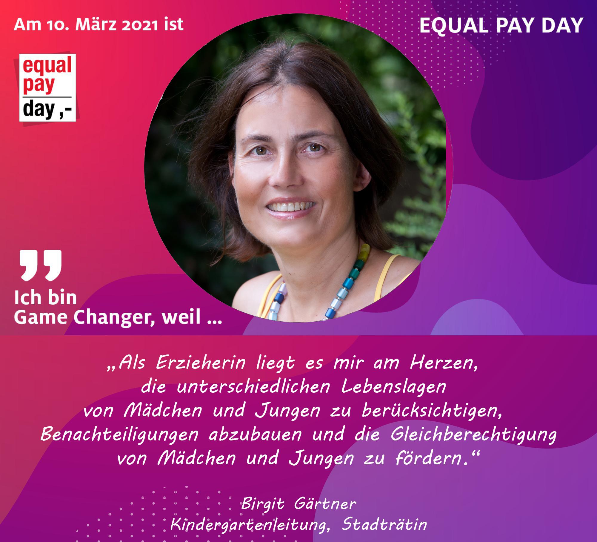 Mitmachaktion Equal Pay Day Birgit Gärtner Kindergartenleitung, Stadträtin