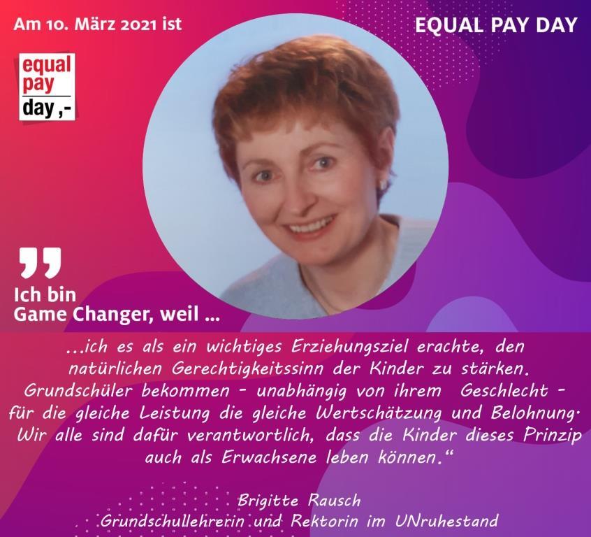 Mitmachaktion Equal Pay Day Brigitte Rausch, Grundschullehrerin und Rektorin im UNruhestand